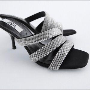 Zara strap faux jewel heeled sandals 7.5